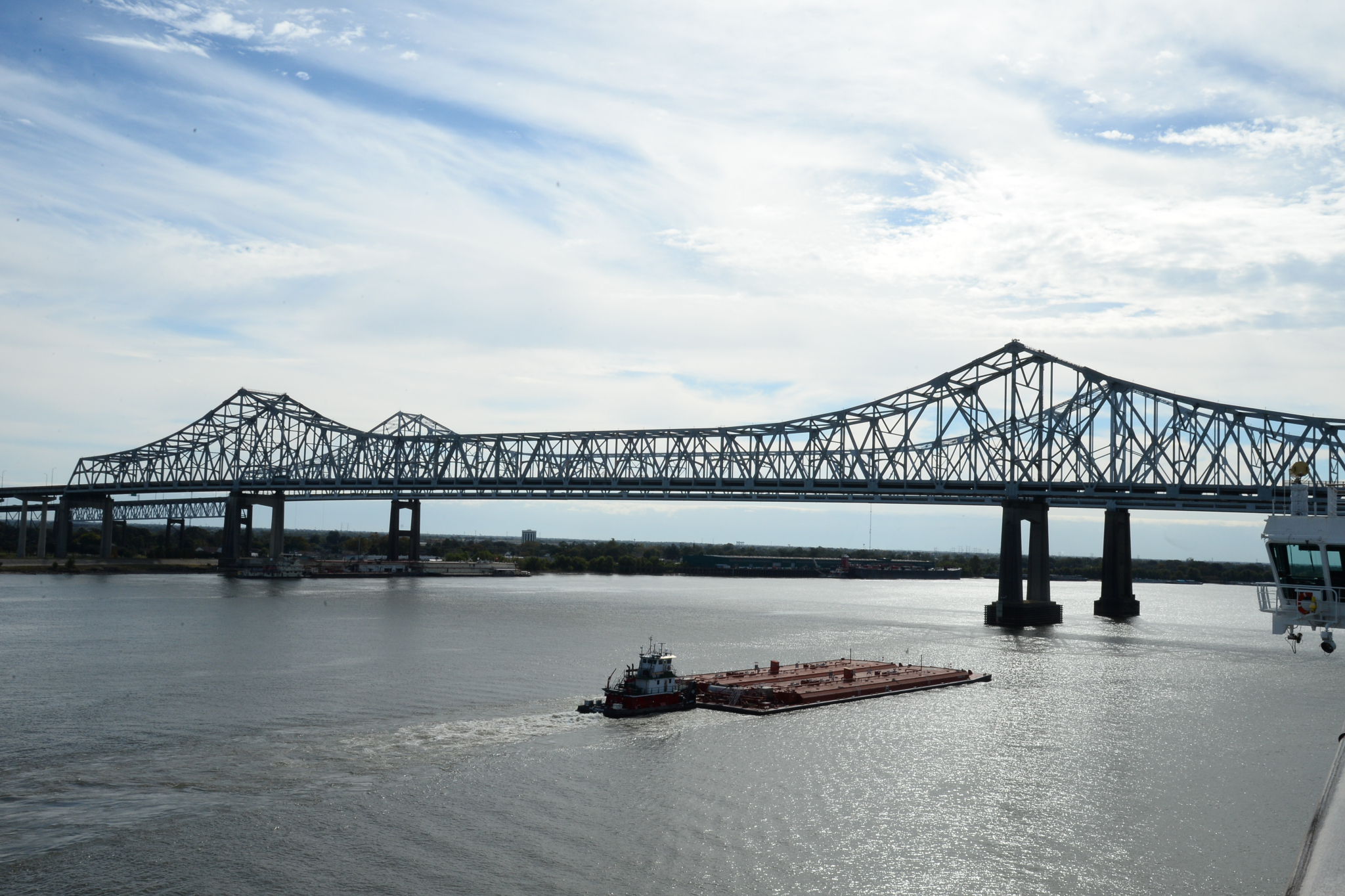 Barge and Crescent City Connection Bridge