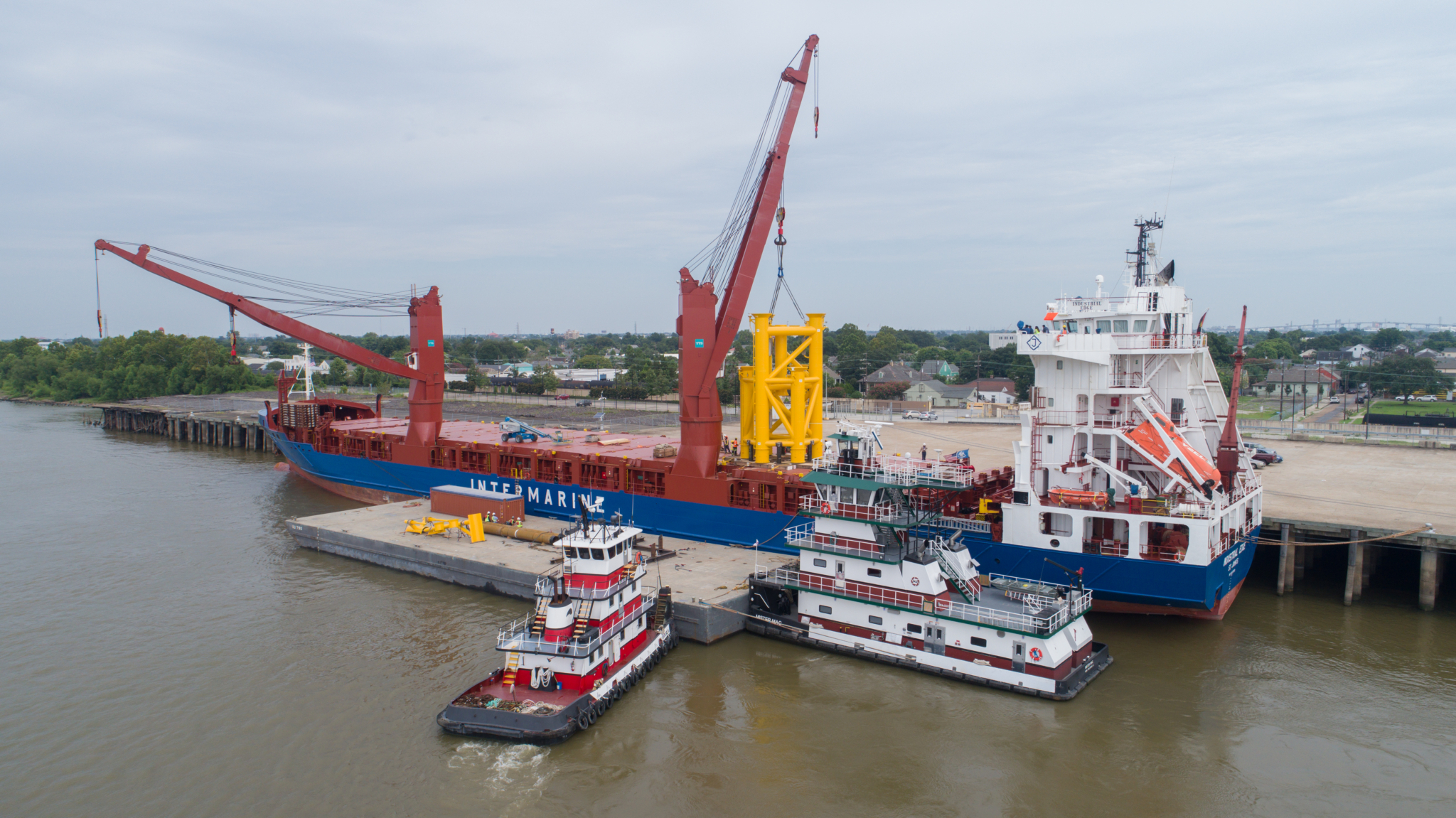 Heavy Lift Cargo Transloaded from Barge to Ocean Vessel
